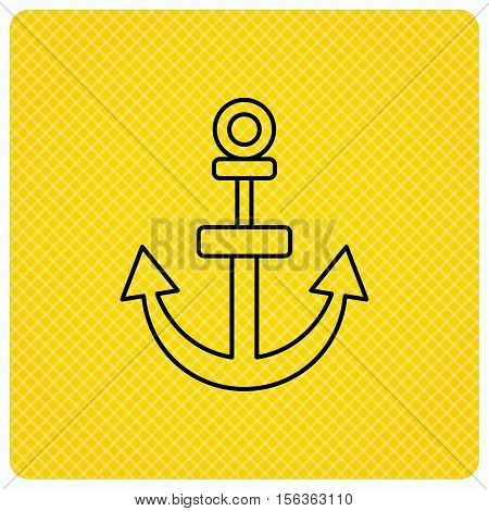Anchor icon. Nautical drogue sign. Sea and sailing symbol. Linear icon on orange background. Vector