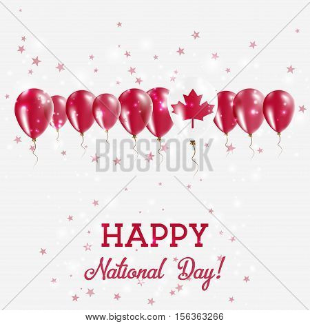 Canada Independence Day Sparkling Patriotic Poster. Happy Independence Day Card With Canada Flags, C