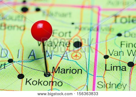 Marion pinned on a map of Indiana, USA