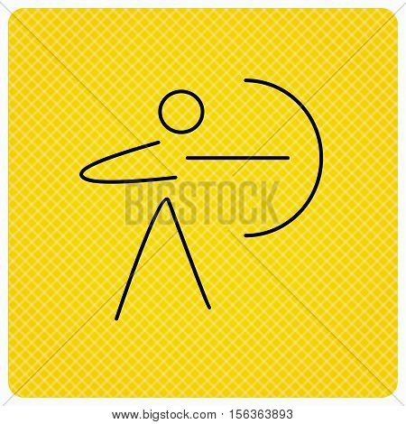 Archery sport icon. Archer with longbow sign. Aiming or targeting symbol. Linear icon on orange background. Vector