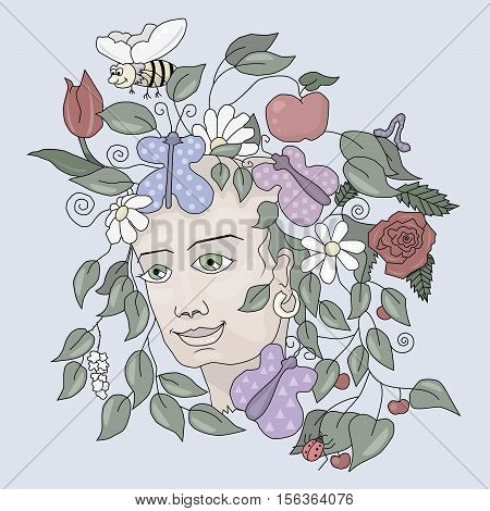 Summer Garden and a lot of fresh vegetation on the head of a young girl