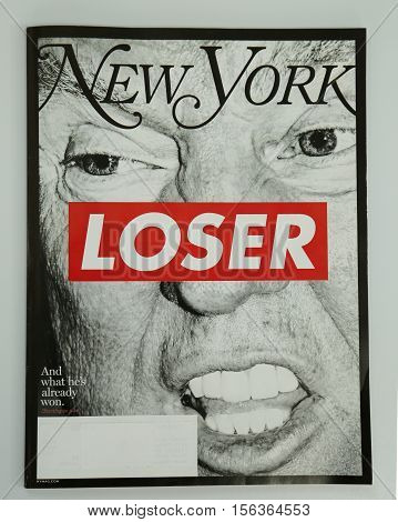 BROOKLYN, NEW YORK - NOVEMBER 13, 2016: New York magazine issued before 2016 Presidential election on display in Brooklyn, New York after Election Day 2016