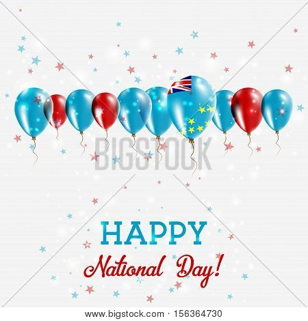 Tuvalu Independence Day Sparkling Patriotic Poster. Happy Independence Day Card With Tuvalu Flags, C