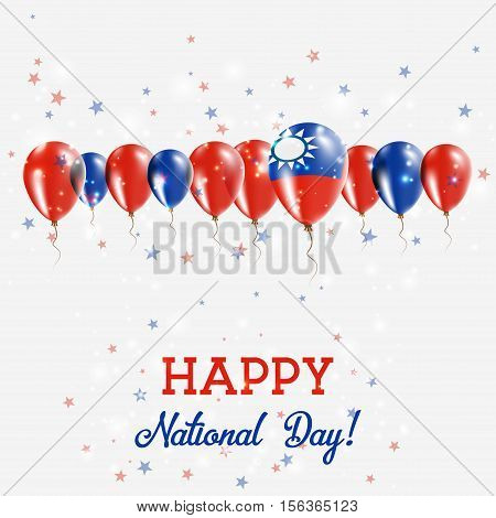 Taiwan, Republic Of China Independence Day Sparkling Patriotic Poster. Happy Independence Day Card W