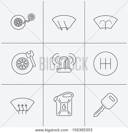 Manual gearbox, tire service and car key icons. Siren alarm, jerrycan and wheel pressure linear signs. Window washing, wiper and heated icons. Linear icons on white background. Vector