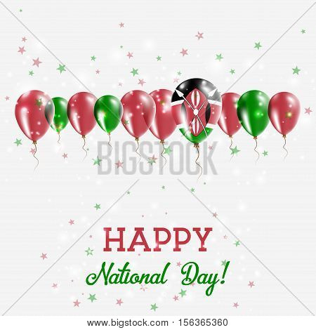 Kenya Independence Day Sparkling Patriotic Poster. Happy Independence Day Card With Kenya Flags, Con