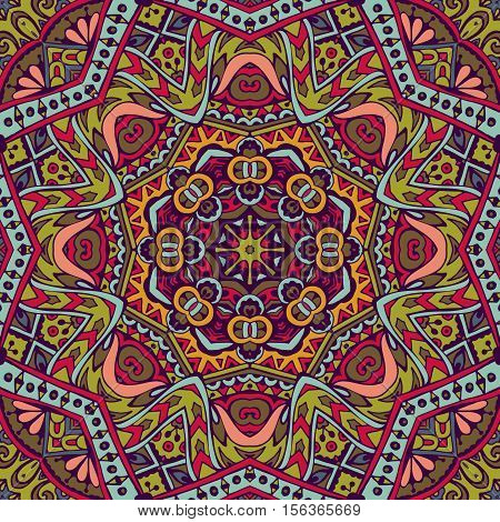 Vector Tribal indian vintage ethnic seamless design. Festive colorful mandala pattern