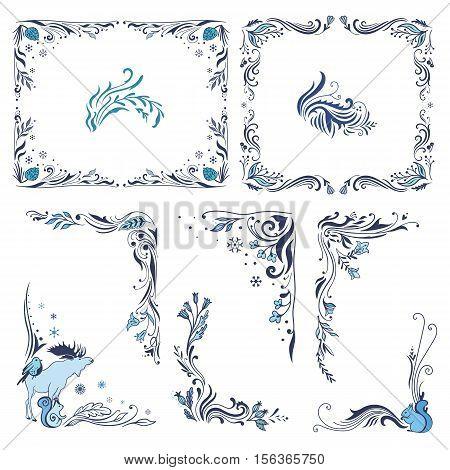 Vector indigo winter swirl vignette ornaments set