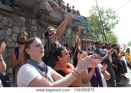 ISTANBUL,TURKEY-MAY 31: Police forces attacked Taksim Gezi Park protesters with tear gas and water cannons as protests continue for a fourth day on May 31, 2013 in Istanbul,Turkey.