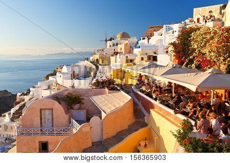 OIA, GREECE - NOVEMBER 05, 2016: Oia village on Santorini island in Greece on November 05, 2016.