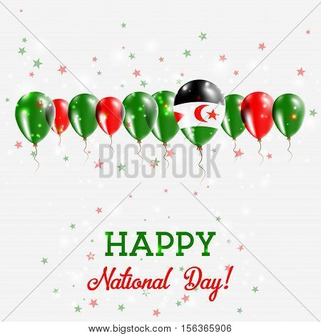 Western Sahara Independence Day Sparkling Patriotic Poster. Happy Independence Day Card With Western
