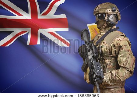 Soldier In Helmet Holding Machine Gun With Flag On Background Series - Turks And Caicos Islands