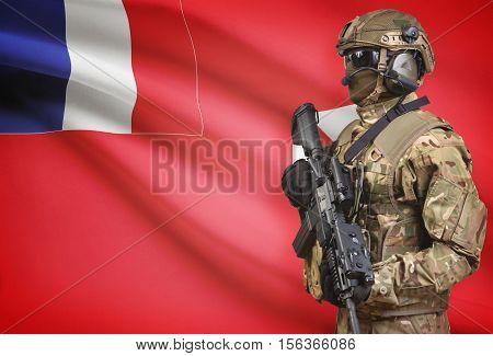 Soldier In Helmet Holding Machine Gun With Flag On Background Series - Wallis And Futuna