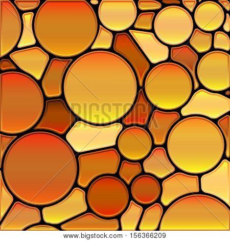 abstract vector stained-glass mosaic background - golden orange circles