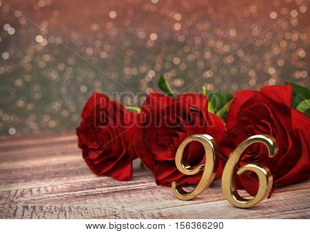 birthday concept with red roses on wooden desk. 3D render - ninetysixth birthday. 96th