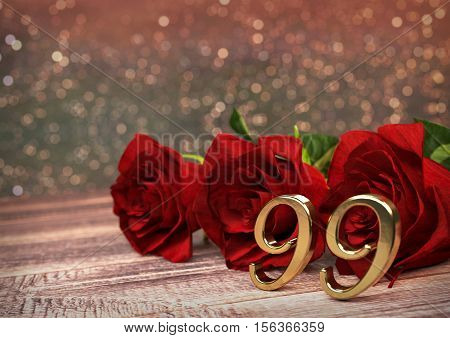 birthday concept with red roses on wooden desk. 3D render - ninety-nineth birthday. 99th