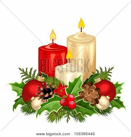 Vector illustration of three red and white Christmas candles, fir branches, balls, holly, poinsettia and cones.