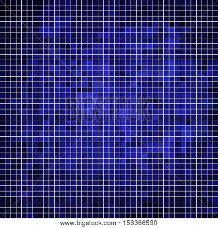 abstract vector square pixel mosaic background - dark blue