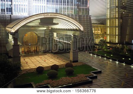 SHANGHAI - NOV 07, 2015: Big gate of Jin Mao building with illumination at night, top view