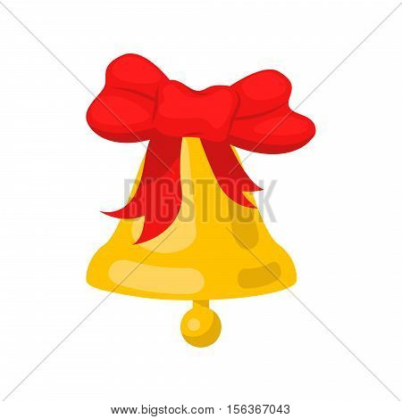 Golden bell cartoon wit red bow ribbon vector illustration. Jingle bell.