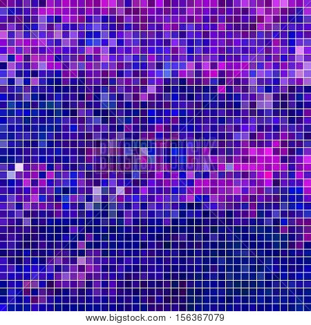 abstract vector square pixel mosaic background - blue and violet