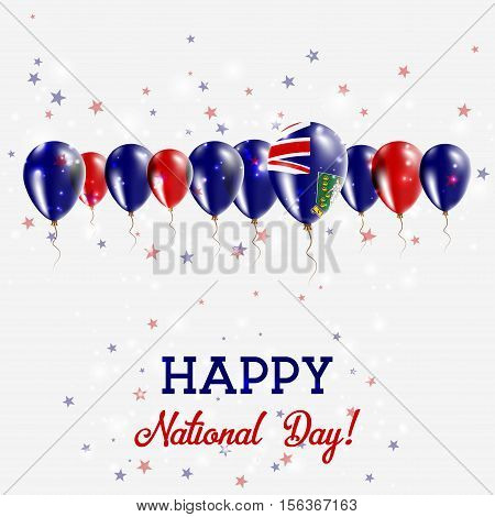 Virgin Islands, British Independence Day Sparkling Patriotic Poster. Happy Independence Day Card Wit