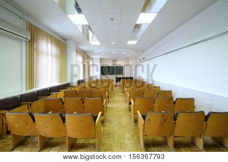 SAMARA, RUSSIA - NOV 7, 2016: Modern empty classroom in branch of Institute of Physics Academy of Sciences