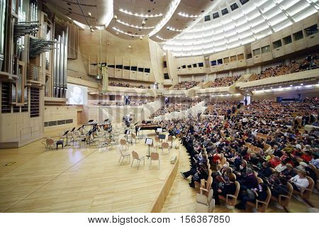 MOSCOW - APR 20, 2015: Auditorium before concert devoted to 100th anniversary of David Ashkenazy in House of Music, Svetlanov hall