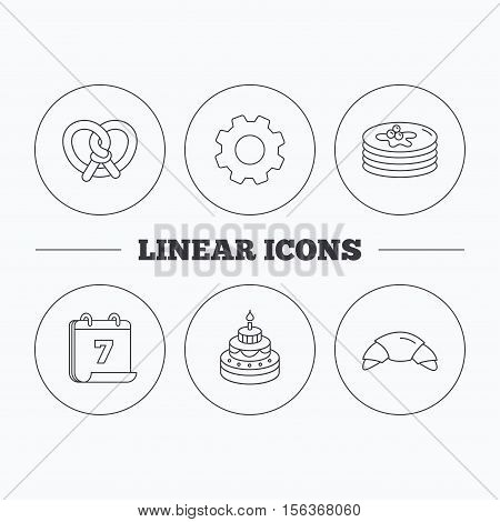 Croissant, pretzel and pancakes icons. Sweet cake linear sign. Flat cogwheel and calendar symbols. Linear icons in circle buttons. Vector