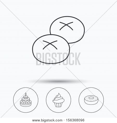 Cupcake, cake and bread rolls icons. Sweet donut linear sign. Linear icons in circle buttons. Flat web symbols. Vector