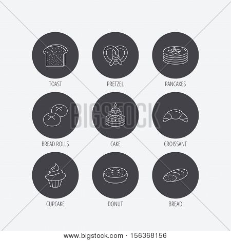 Croissant, pretzel and bread icons. Cupcake, cake and sweet donut linear signs. Pancakes, toast and bread rolls flat line icons. Linear icons in circle buttons. Flat web symbols. Vector