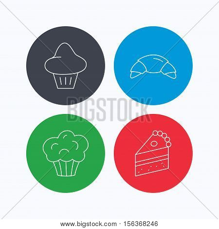 Croissant, brioche and piece of cake icons. Sweet muffin linear sign. Linear icons on colored buttons. Flat web symbols. Vector