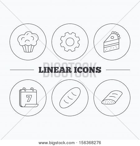 Sweet muffin, cake and bread icons. Piece of cake linear sign. Flat cogwheel and calendar symbols. Linear icons in circle buttons. Vector