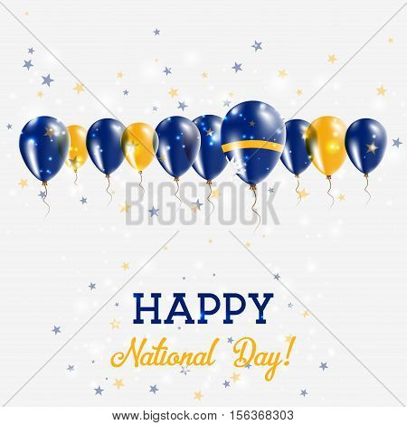 Nauru Independence Day Sparkling Patriotic Poster. Happy Independence Day Card With Nauru Flags, Con