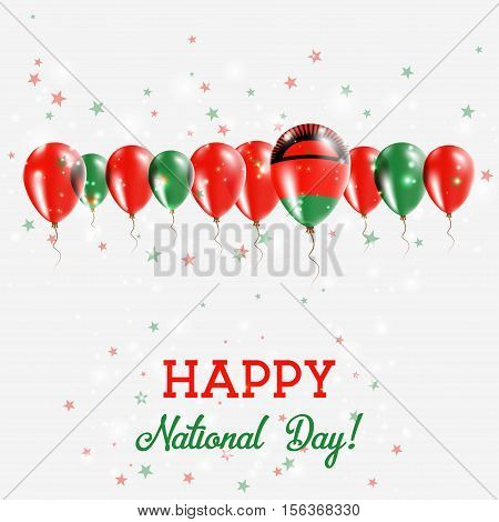 Malawi Independence Day Sparkling Patriotic Poster. Happy Independence Day Card With Malawi Flags, C