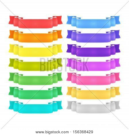 isolated vector colored satin ribbons set - red orange yellow green blue purple violet silver and golden