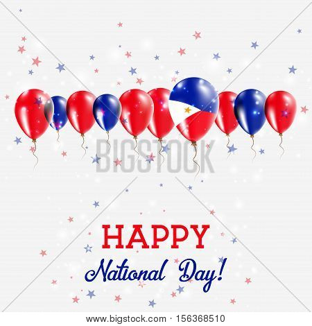 Philippines Independence Day Sparkling Patriotic Poster. Happy Independence Day Card With Philippine