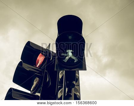 Vintage Looking Green Light Traffic Signal