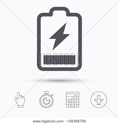 Battery power icon. Charging accumulator symbol. Stopwatch timer. Hand click, report chart and download arrow. Linear icons. Vector