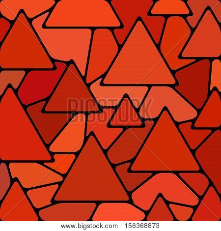 abstract vector stained-glass mosaic background - red triangles