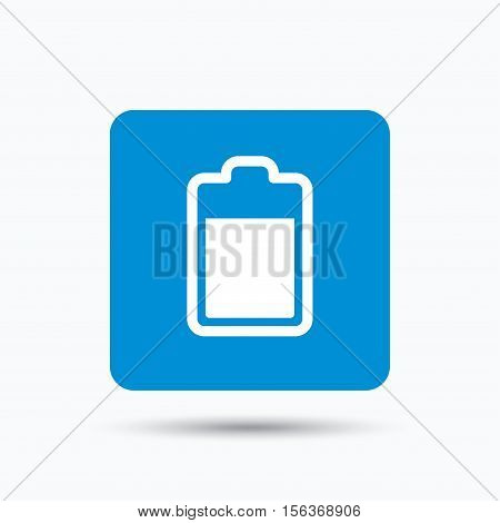 Battery power icon. Charging accumulator symbol. Blue square button with flat web icon. Vector