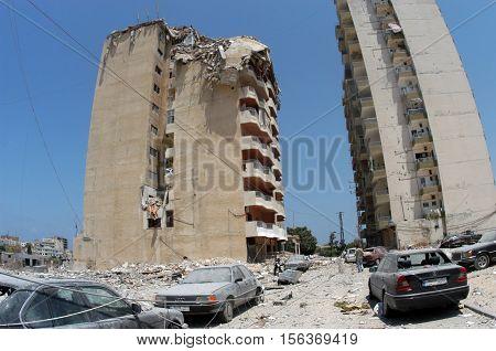 TYR, LEBANON - JUNE 26 : Buildings destroyed by Israeli bombing in the city of Beirut on June 26. 2006, Tyr,Lebanon.
