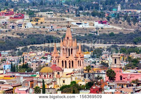 San Miguel de Allende, a colonial city in Mexicos central highlands, is known for its baroque Spanish architecture, thriving scene and cultural festivals. Gothic church Parroquia de San Miguel Arca