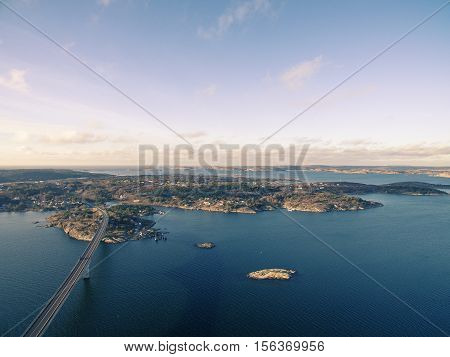 Marstrand islands on the rocky coast in Sweden.