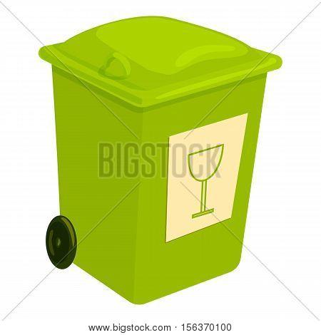 Green trashcan icon. Cartoon illustration of green trashcan vector icon for web