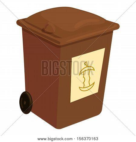 Brown trashcan icon. Cartoon illustration of brown trashcan vector icon for web