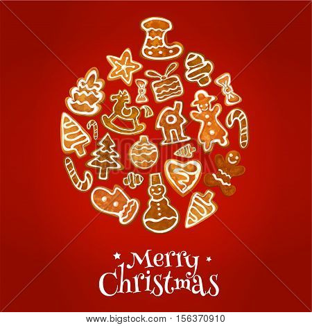 Christmas ball symbol made up of gingerbread man, house, bauble, gift box, snowman, xmas tree, stocking sock, candy cane, star, bow and rocking horse. Xmas and New Year holidays poster design
