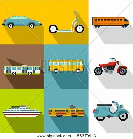 Transport for movement icons set. Flat illustration of 9 transport for movement vector icons for web