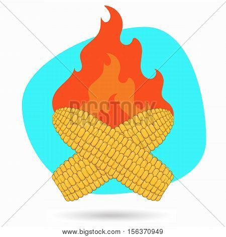 Cartoon the roasted corn. Vector illustrationis ready to work.