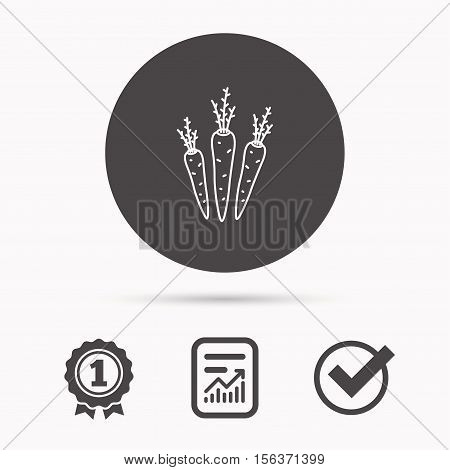 Carrots icon. Vegetarian food sign. Natural vegetables symbol. Report document, winner award and tick. Round circle button with icon. Vector